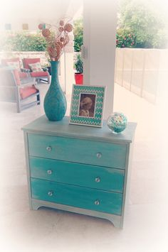 SOLD Hand painted chest in Annie Sloan Chalk Paint.  Various shades of turquoise (Florence and Provence) and lots of texture. www.facebook.com/thecreativebugbda