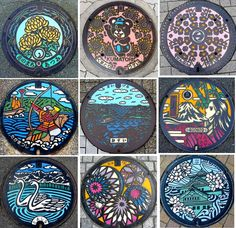 Japanese painted manhole covers. (xpost from /r/MostBeautiful