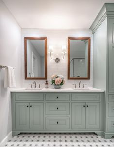 Promise Lane Bath Remodel « Jarrett Design Features Rutt Cabinetry in a soft green paint. Grey Bathroom Cabinets, Green Cabinets, Bath Cabinets, Bathroom Interior, Modern Bathroom, Master Bathroom, Bathroom Ideas, Bath Ideas, Cabin Bathrooms