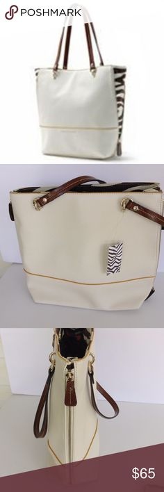 """DANA BUTCHMAN - ABBIE ICONIC WHITE BONE TOTE. Dana Butchman- Abbie Iconic white bone tote - Shoulder Tote Bag - Style Purse - Gold colored accents.  Handbag details:  12.5"""" H x 14"""" W x 4 D.  Magnetic snap closure Interior: zip pockets, slip pockets- red and blue print. Shoulder strap with 9-in. drop Gold-tone hardware Dana Buchman Bags Shoulder Bags"""