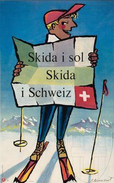 vintage ski poster. Schweiz