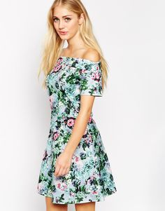 Image 1 of Style London Bardot Skater Dress in Floral Bardot Skater Dress dea6258e8