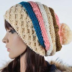 winter beanies for women with pom pom | New Women Chunky Beanie Pom CROCHET Knit Ski Skullcap Winter Hat ...