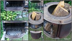 DIY- grill from the drum of the washing machine. To make you need: drum of the washing machine, three rebars Ø 10, length 150cm (legs)wire rack individually made of stainless steel. It works well as a firebox for cooking sausages or bonfire where you can sit in the cooler evening.