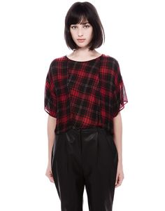 CHECK PRINT BLOUSE TOP - NEW PRODUCTS - WOMAN - PULL&BEAR Spain