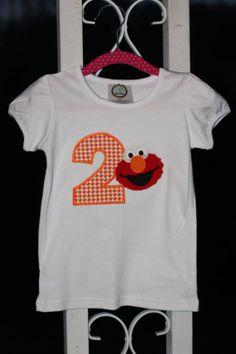 Elmo Birthday Knit PuffSleeve TShirt by GiggleGooseDesigns on Etsy, $22.00