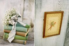 Vintage books and organic flowers