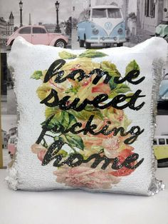 **Please note I will not be shipping orders until the new year. Please understand if you order now it will not be shipped until January 4th** ***Pillow Cover Only*** These rude mermaid pillow sequin cushion covers are the perfect rude funny gift for a friend or family member. The
