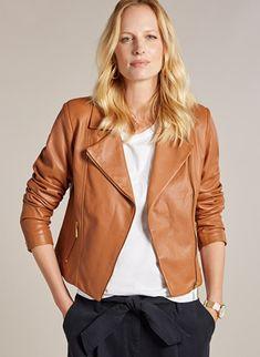 Buy Baukjen Tan Everyday Leather Biker Jacket from the Next UK online shop Latest Fashion For Women, Mens Fashion, Next Uk, Sustainable Fashion, Biker, Leather Jacket, Uk Online, Jackets, Stuff To Buy
