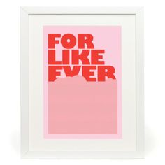 For Like Ever  Retro Style Typography Poster  by wordsdesignlove, £14.00