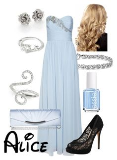 """Disney - Alice"" by briony-jae ❤ liked on Polyvore featuring Essie, Marc by Marc Jacobs, Allurez, Blue Nile, Notte by Marchesa, Vince Camuto and Victoria Delef"