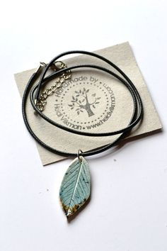 Leaf Pendant - Ceramic Leaf Necklace - Unique and Handmade - Glazed - Porcelain Stoneware by TaikaEarth on Etsy