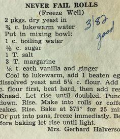Never fail rolls.or coffee cake Old Recipes, Vintage Recipes, Cookbook Recipes, Bread Bun, Bread Rolls, Yeast Rolls, Bread Machine Recipes, Bread Recipes, Baking Recipes