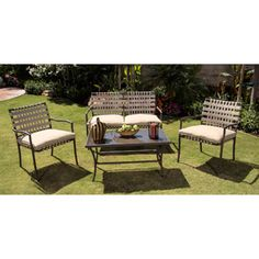 Palm Beach 4-Piece Patio Conversation Set, Tan, Seats 4