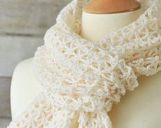 Spring lace crochet scarf ,wool, white, accessories, lightweight, Easter