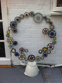 Scrap bike cogs and stained glass, Upcycling! - Imgur