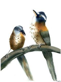 The chatting birds Watercolor by Olga Shefranov | Artfinder
