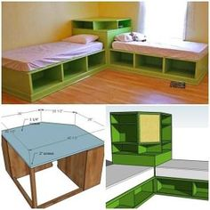 DIY Twin Corner Bed with Storage Good idea for a kids bedroom by joytotheworld