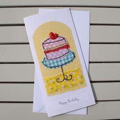 Birthday Card Handmade Hand Sewn Fabric Birthday Cake