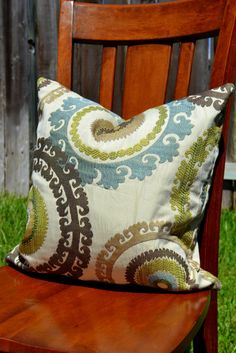 Color matches living room-Designer Suzani Fabric Pillow Cover  18X18 by ParKenDesigns, $45.00