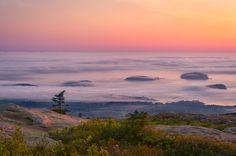 Sunset at Cadillac Mountain, Acadia National Park - Maine, USA [OC ...