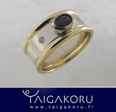 KVS93 Vihkisormus, valkokulta, kulta, safiiri, taigakoru. Wedding ring, white gold, sapphire. www.taigakoru.fi by TAIGAKORU, via Flickr