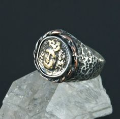 Mens Silver Coin Ring, Medusa, Sterling Silver, Handmade coin jewelry