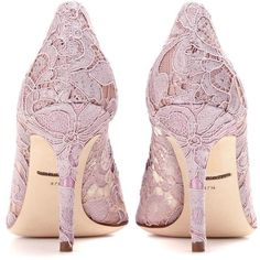 Dolce & Gabbana Bellucci Embellished Lace Pumps (1 850 AUD) ❤ liked on Polyvore featuring shoes, pumps, heels, embellished heel pumps, decorating shoes, lace heel shoes, purple pumps and heel pump