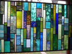 Stained Glass Window 'Sea Glass' Ocean blues and greens Custom Made. $475.00, via Etsy. #StainedGlassAbstract