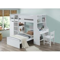 Ragna white finish wood twin loft bed with desk and drawers. This set features a twin loft bed with built in desk and drawers and side shelves. Measures 92 x 45 x 66 H. Single under bed twin and chair also available separately at additional cost, be Bunk Bed Designs, Small Bedroom Designs, Bedroom Loft, Girls Bedroom, Dream Bedroom, Bed With Desk Underneath, Traditional Bunk Beds, Bunk Bed With Desk, Desk Bed
