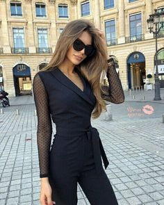 Casual Jumpsuit, Black Jumpsuit, Fashion Poses, Fashion Outfits, Fashion Photo, Street Chic, Street Style, Lebanese Girls, Wedding Jumpsuit