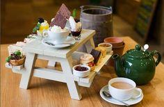 Mini picnic bench Afternoon Tea.