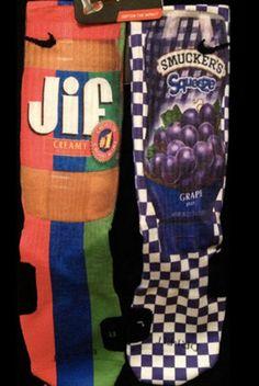 Peanut Butter and Jelly Custom Nike Elite Socks. New bball socks? Funky Socks, Crazy Socks, My Socks, Silly Socks, Nike Elite Socks, Nike Socks, Nike Free Shoes, Nike Shoes Outlet, Basketball Socks