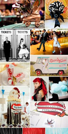 Inspiration board for a Rockin Roller Derby Wedding