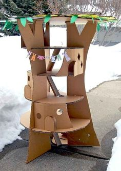 The Faraway Tree in Cardboard - dollhouse - Cardboard tree doll house - Cardboard Tree, Cardboard Box Crafts, Cardboard Dollhouse, Kids Crafts, The Magic Faraway Tree, Carton Diy, Diy Karton, Rat Toys, Diy For Kids
