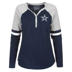 3900d21404 Women s Dallas Cowboys Navy Nilly Henley Raglan Long Sleeve T-Shirt