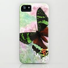 """""""Urania Ripheus Butterfly"""" iPhone & iPod Case by Savousepate on Society6 #iphonecase #ipodcase #phonecase #uraniaripheus #butterfly #spring #green #pink #brown #black"""