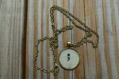 crossstitch semicolon necklace ~ semicolon jewelry ~ project semicolon