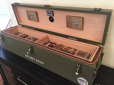 """Custom cigar humidors built from repurposed """"surplus"""" military ammo cans, shipping crates and Cigar Shops, Cigar Bar, Diy Cigar Humidor, Cigar Humidor Cabinet, Pipes And Cigars, Cigars And Whiskey, Cigar Lounge Man Cave, Etsy Free Shipping, Ammo Cans"""