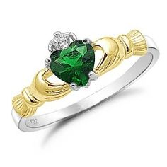 Brightt Emerald Claddagh Ring .925 Sterling Silver Sizes 3-12