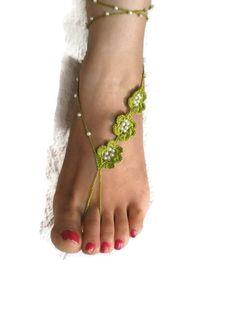 Chaux Crochet vert sandales pieds nus, cheville perles Bracelet Bijoux, mariage, Unique Summer chaussures de plage