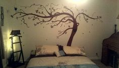 Painted wall tree above master bed! Inspiration!! No stencil