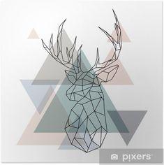 Geometric Deer, Deer Illustration, Diy Christmas Cards, Christmas Decorations, Reno, Diy Wall Art, Pixar, Vector Art, Reindeer
