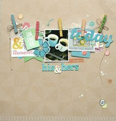 #papercraft #scrapbook #layout Leah Farquharson - His & Hers