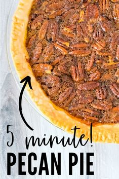 This Easy Pecan Pie takes 5 minutes to put together and is loaded with flavor and sweetness. What makes this recipe SO good? It has a secret ingredient. Easy Pie Recipes, Pecan Recipes, Fall Recipes, Holiday Recipes, Cooking Recipes, Cinnamon Recipes, Easy Recipe For Pecan Pie, Crowd Recipes, Deserts
