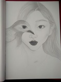 #woman #bird #drawingpencil