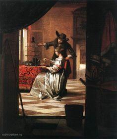 """Painting """"Echtpaar met Parrot"""" by Pieter de Hooch - www.schilderijen.nu"""