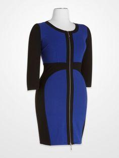 930f565e59 Daytime Dresses - Steve Harvey Royal Blue and Black Colorblock Zipper Dress  - K Fashion Superstore