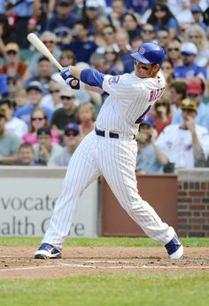 Chicago Cubs Anthony Rizzo hits a two-run homer in the fifth inning against the…