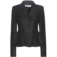 Victoria Beckham Virgin Wool-Blend Peplum Blazer featuring polyvore, women's fashion, clothing, outerwear, jackets, blazers, black, peplum jacket, victoria beckham, peplum blazer jacket, peplum blazer and blazer jacket